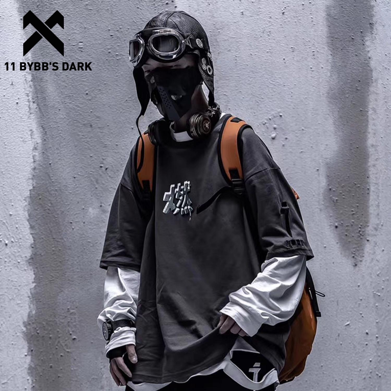 11 bybbs escuro hip hop impressão t camisa masculina 2020 streetwear solto tshirt verão techwear harajuku moda masculina camisas de manga curta