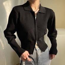 Knitted Cardigan Women Korean Autumn Simple And Versatile Lapel Zipper Design Casual Loose Long Slee