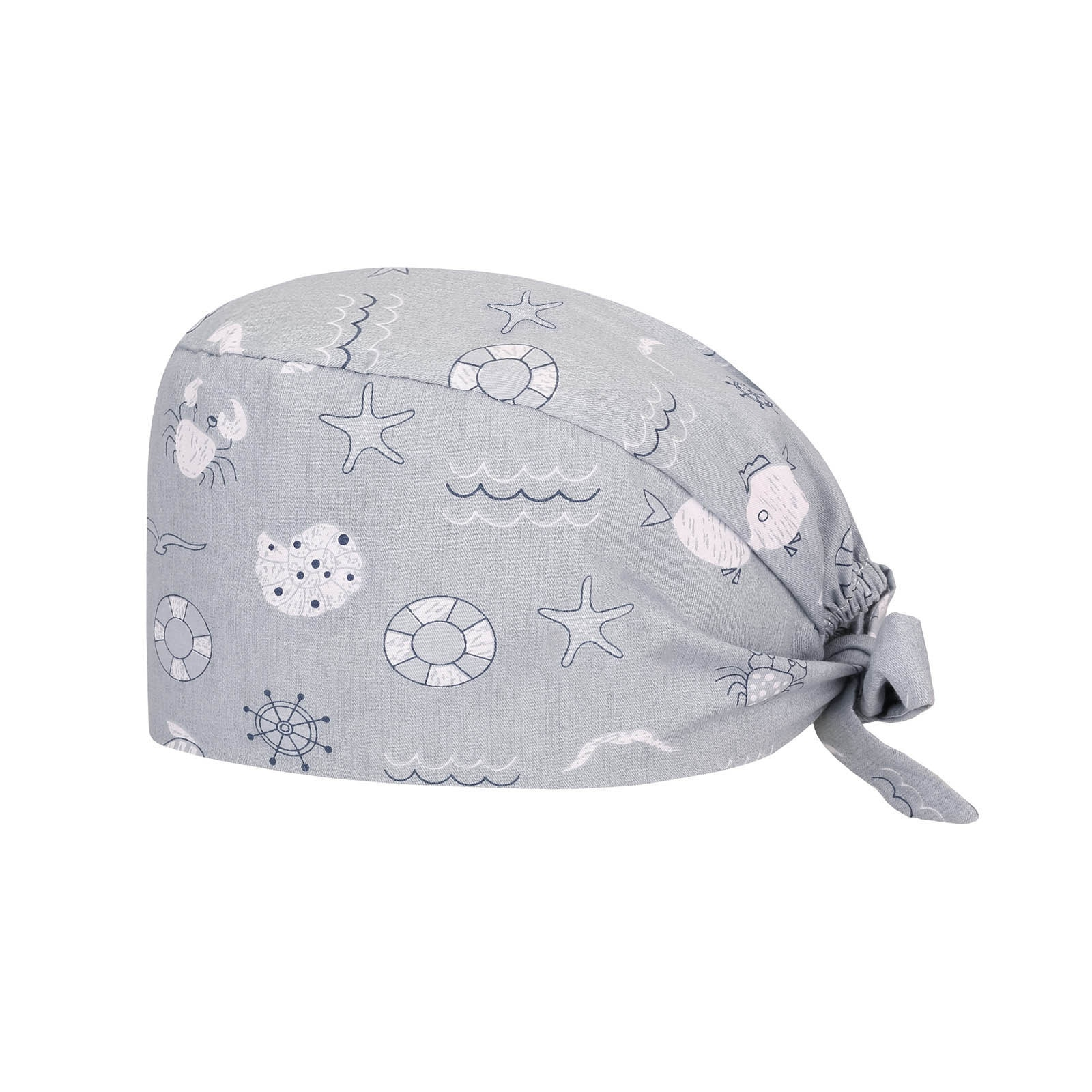Adjustable Elastic Button Women Hat Cartoon Print Cap Health Service Scrubs Caps Pet Beauty Work Hat