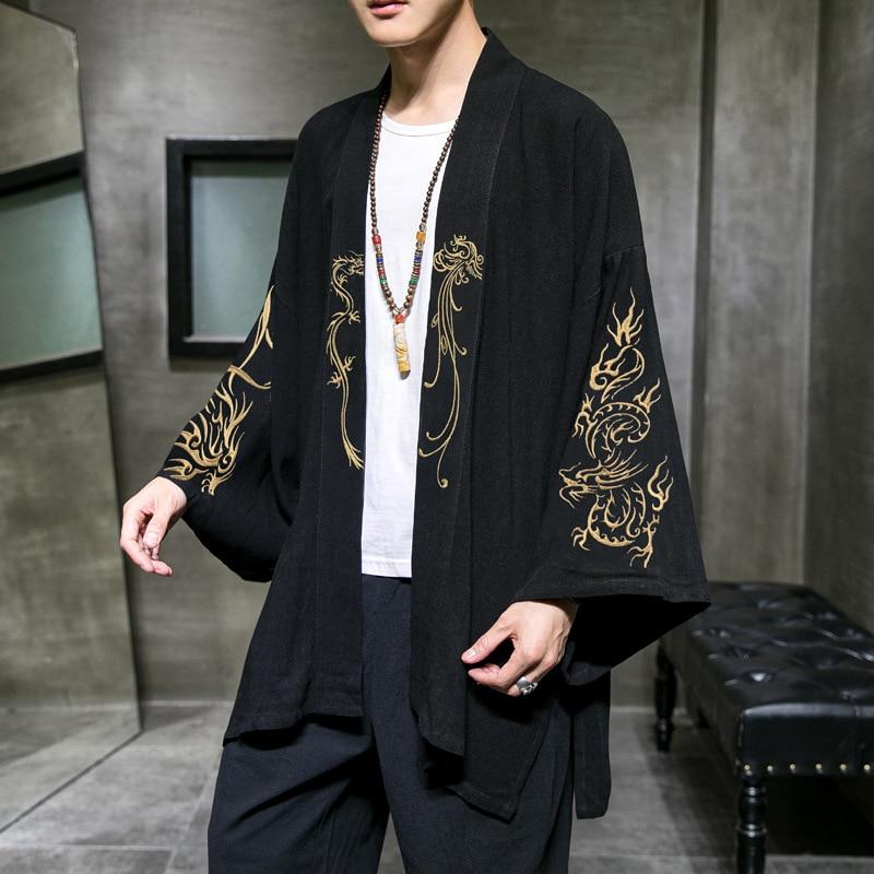 المطرزة تأثيري ازياء كيمونو سترة النمط الصيني الرجال معطف Tang الملابس المتضخم القطن الكتان القديمة HanFu 5XL