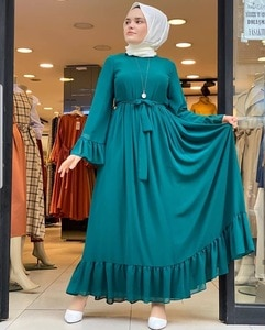 Fashion Abaya Fresh and Elegant Fairy Ankle Bell Sleeve Chiffon Dress Robe