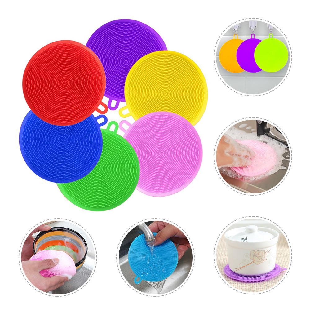 6 шт./лот, силиконовая губчатая чаша, чистящая щетка для мытья посуды, губка для мытья посуды, кастрюля, инструмент для приготовления пищи, очиститель, силиконовый скруббер