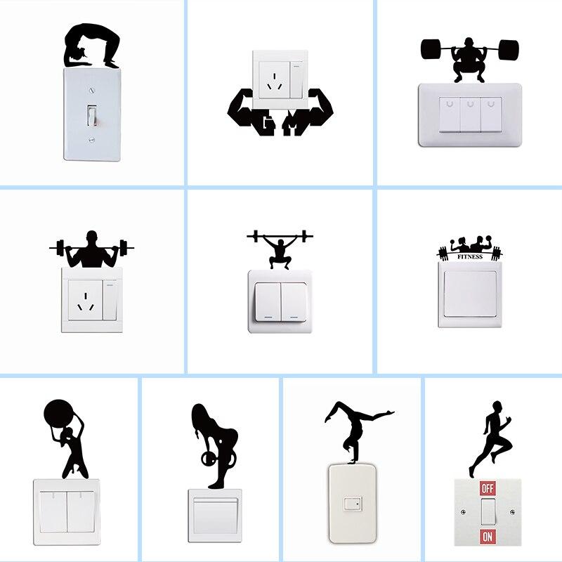 Ginásio crossbar fitness homem woamn interruptor adesivo esporte criativo silhueta adesivo de parede para o quarto sala estar decoração casa