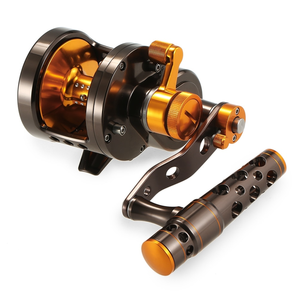 2-Velocidade de alumínio Usinado CNC Lever Arraste Fishing Reel Big Game Trolling Reel Jigging Barco Carretel De Pesca Do Mar
