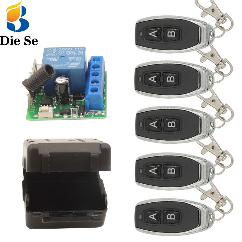 Diese 433Mhz Universal RF Control remoto interruptor 12V relé receptor 1CH controlador y transmisor llave fob DIY Smart Remotes