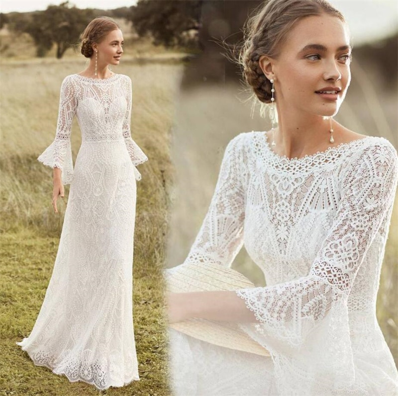 Review Scoop Beach Style Sweep Train Wedding Dress Elegant Lace Bell Sleeve Bohemian Backless Bridal Gowns vestidos de mairee Wedding