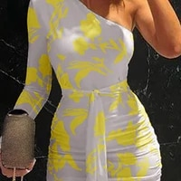 robe sexy white dress women bodycon one shoulder long sleeve ruched wrap long dresses party dresses robe moulante femme autumn