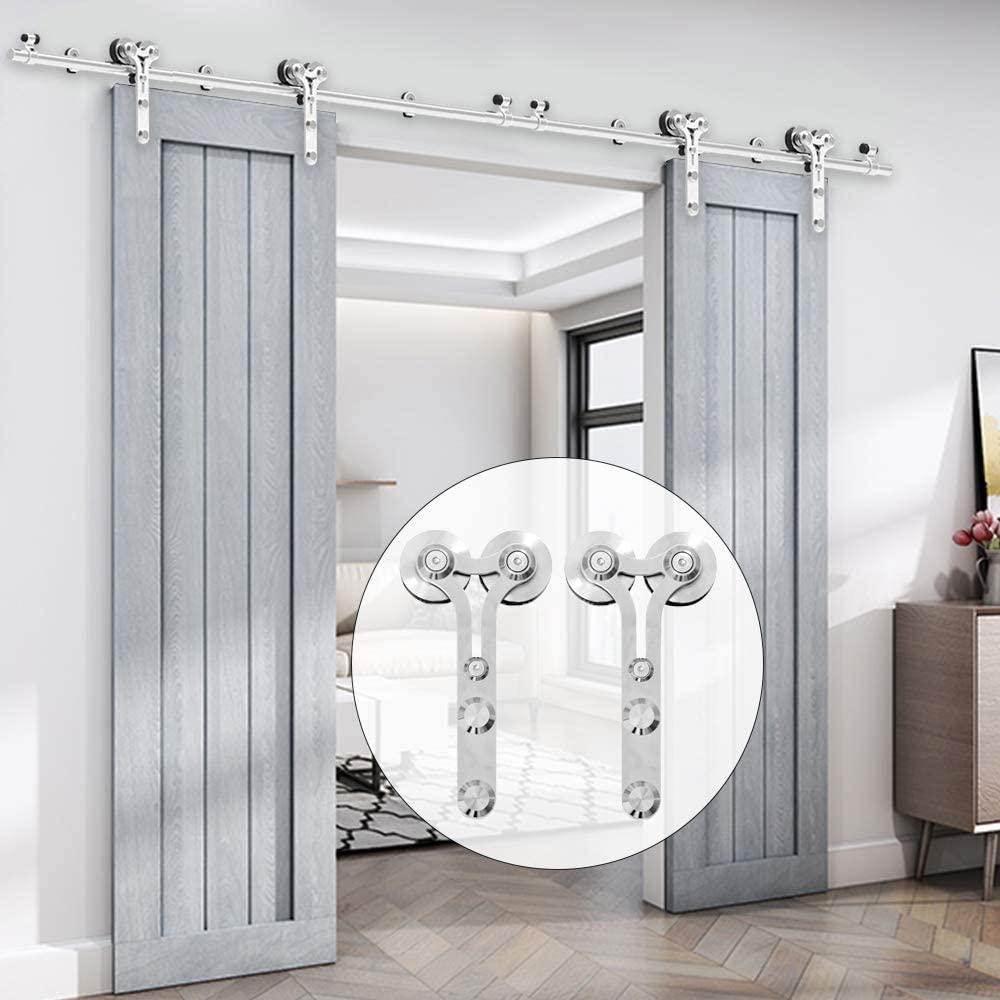 JACHOR 4-16FT الفولاذ المقاوم للصدأ الحظيرة باب الشريحة الأجهزة Y-شكل معلقة الأسطوانة السكك الحديدية قطع تركيب باب منزلق للأبواب المزدوجة