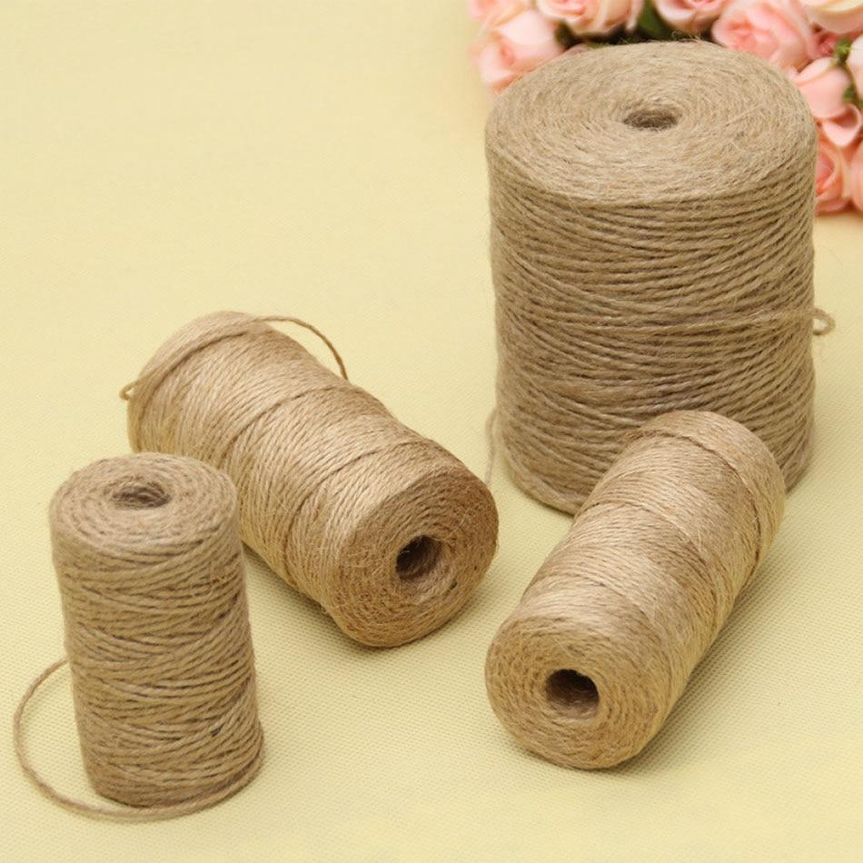 30/50/100Meters Natural Vintage Jute Rope Cord String Twine Burlap Ribbon Crafts Sewing DIY Jute Hemp Wedding Party Decoration