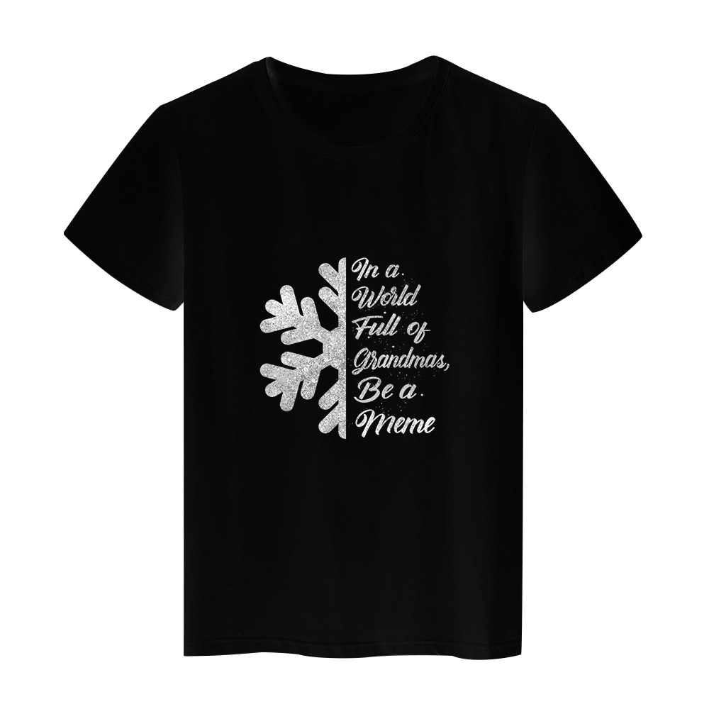 Aesthetic Art Tshirt Mother's Day Black Shirts Summer Cozy Breathable Tops O-neck Tees Women's Clothing Plus Size Harajuku