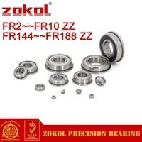zokol 10pcs fr2zz to fr10zz flange bearing frr3zz fr4zz fr6zz fr8zz fr144zz fr166zz fr168zz fr188zz deep groove ball bearing