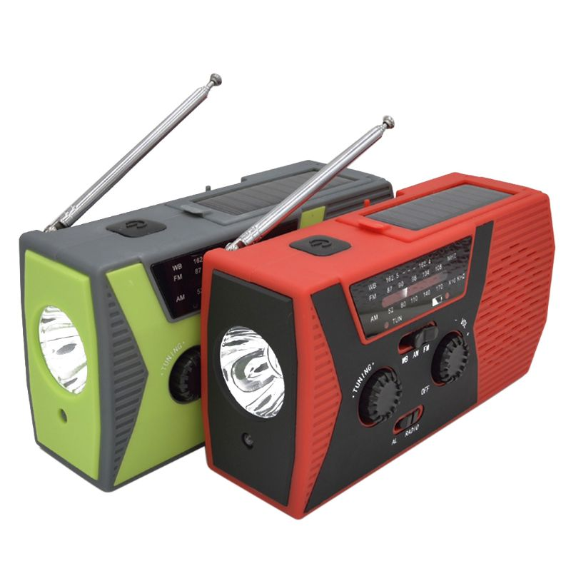 Emergencia Solar manivela manual clima AM/FM/NOAA Radio banco de energía SOS Cargador USB LED linterna LED