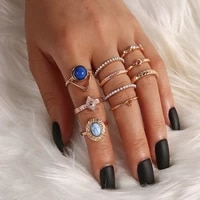10 pcsset bohemian stone pendant crystal rings set for women gems geometry gold midi kunckle finger jewelry party gifts 2020
