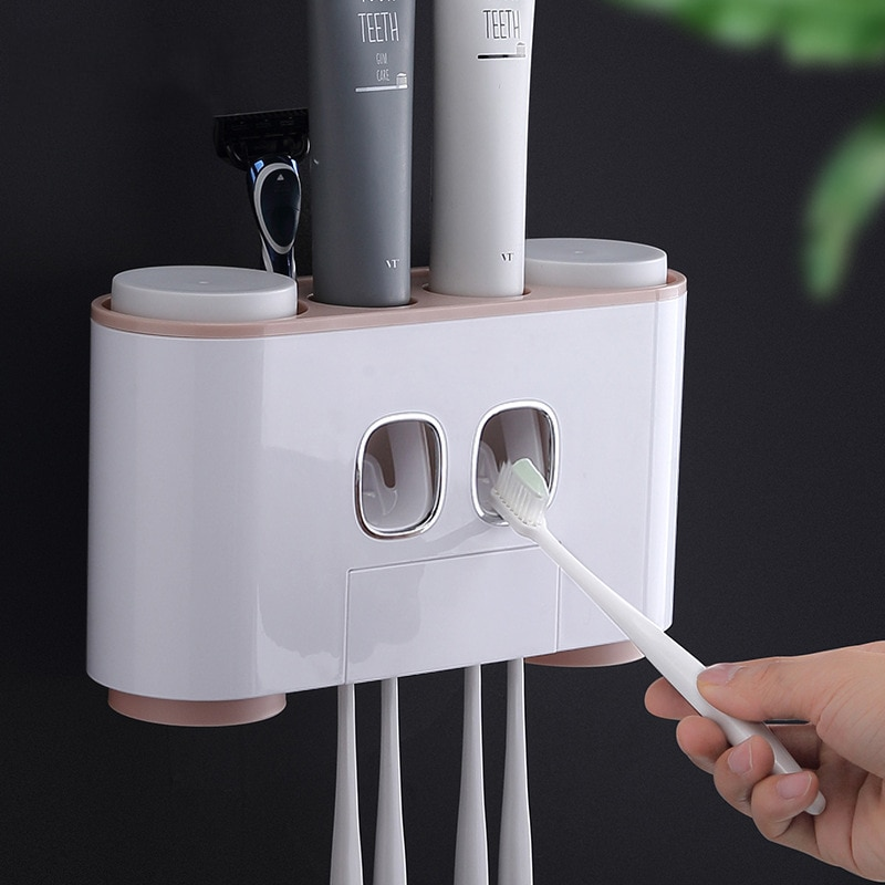 ONEUP Automatic Toothpaste Dispenser Dust-proof Toothbrush Holder With Cups No Nail Wall Stand Shelf Bathroom Accessories Sets enlarge