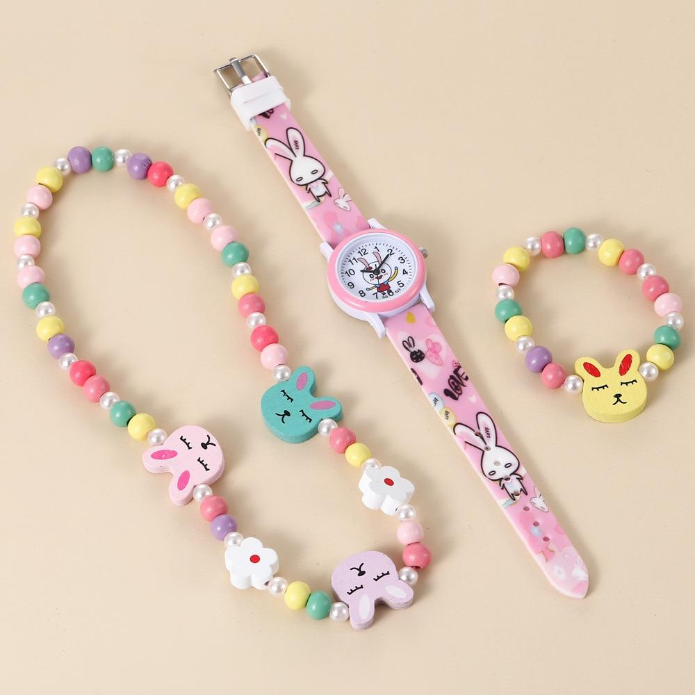 Fashion cartoon cute personality silica gel quartz watch + children necklace bracelet set