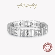 Ailmay  Clear Zircon Braided Texture Rectangle Finger Ring For Women Authentic 925 Sterling Silver S