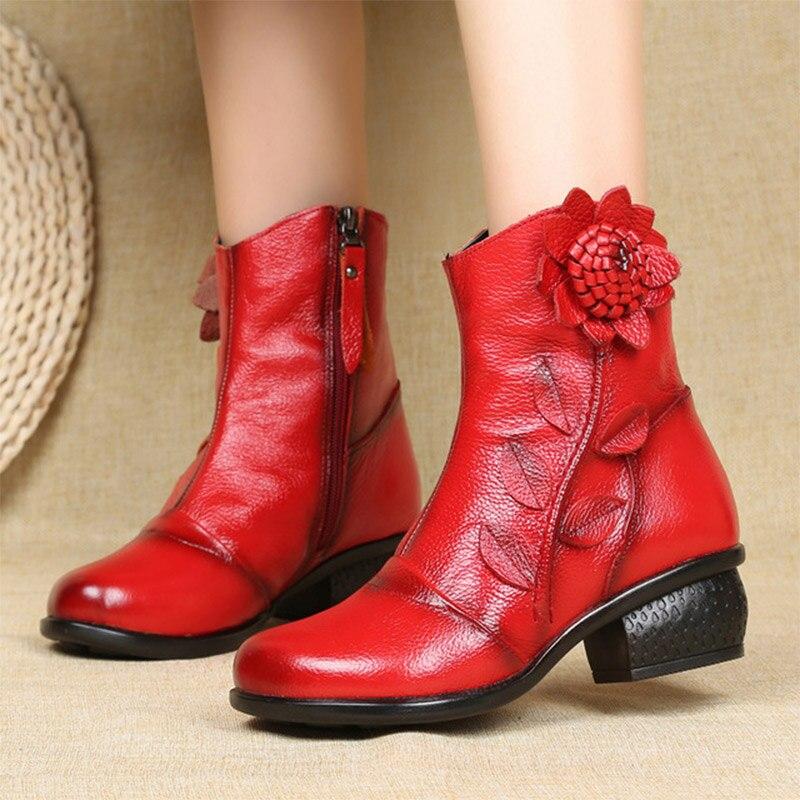 MCCKLE femmes bottines fleur femmes bottes femme en cuir véritable dames mode Zip automne hiver confort femme chaussures femme
