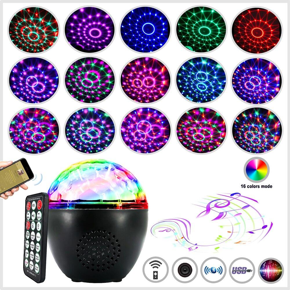 La boule Disco Rechargeable dusb de Bluetooth allume 16 lumières détape de stroboscope de Modes de couleurs pour des fêtes, des vacances, le désherbage et la chambre denfants