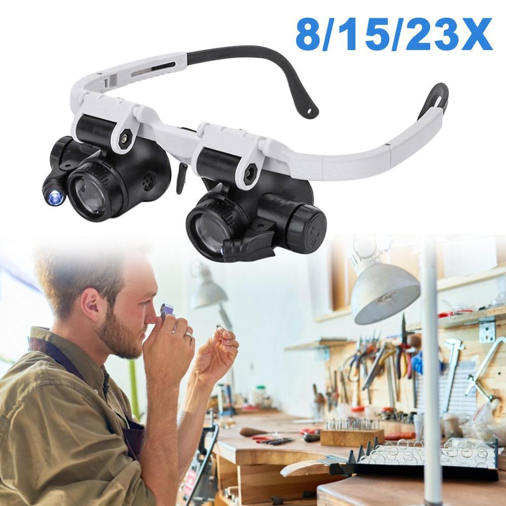 8X 15X 23X lupa, joyero, lupa, diadema con lupa, gafas con luz LED, gafas de reparación, Dropshipping