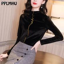 세련된 우아한 자수 티 셔츠 여성 봄 패션 한국어 슬림 기본 의류 캐주얼 터틀넥 긴 소매 탑스 와인 레드