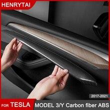 New Model3 2021 Carbon Fibre ABS Decoration Car Accessories For Tesla Model 3 Y Door Trim Dashboard