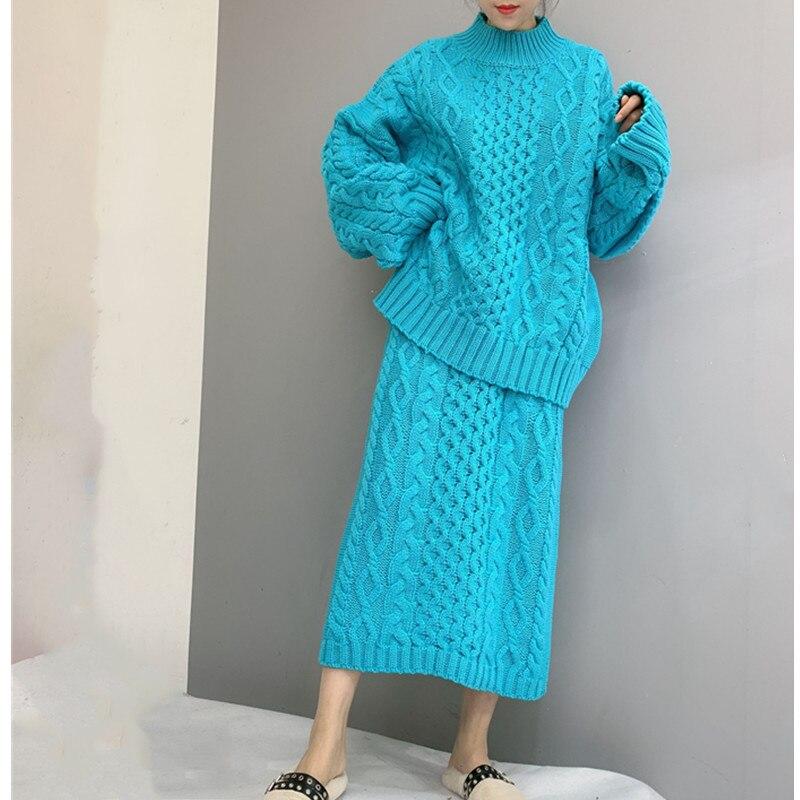 الكورية نمط المرأة محبوك البلوزات تنورة و أعلى السترة 2 قطعة مجموعات الحلوى اللون ازياء صداري الشارع الشهير المعتاد