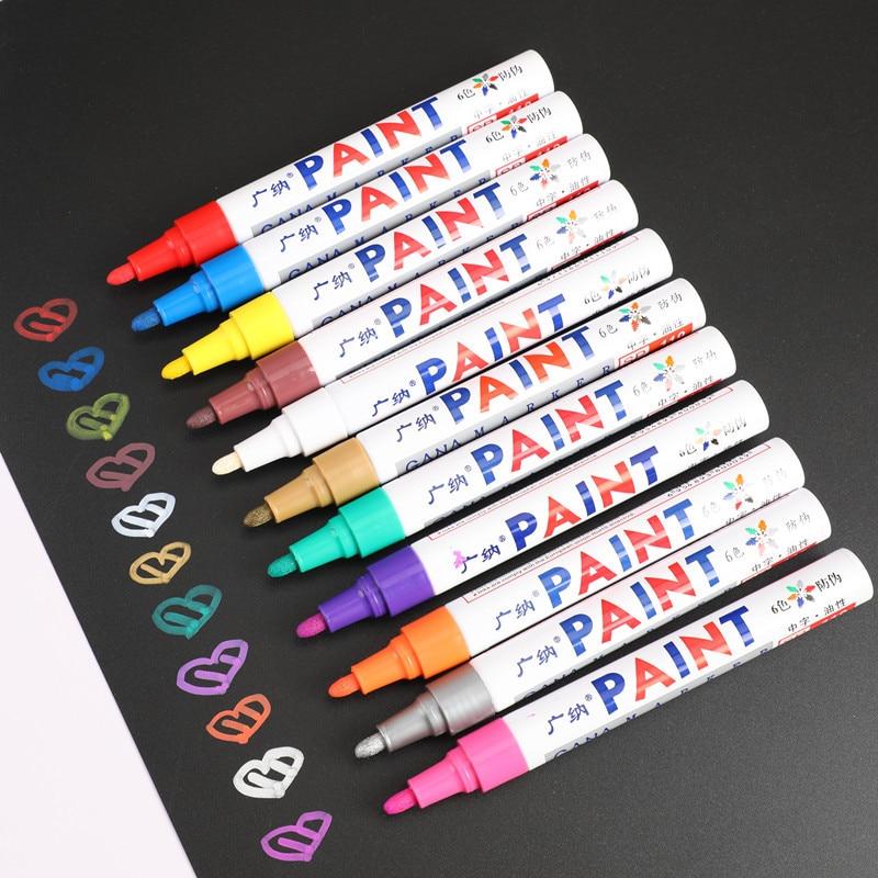 12 цветов Набор водонепроницаемых автомобильных шин протектора резиновый металлический маркер с перманентной краской ручка Graffti фломастер на масляной основе канцелярские принадлежности