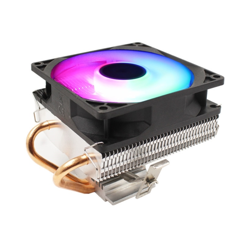 Silent CPU Cooler LGA/2011/115X/775 3 Pin PC Cooling Radiator 2 Copper Tubes 5 Colors LED Cooling Fan