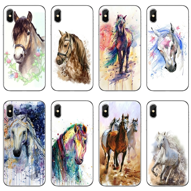 Watercolor Horse pattern For Xiaomi Redmi Note 6 5 5A 4 3 pro S2 5 plus 6A 4A 4x Pocophone F1 cover case