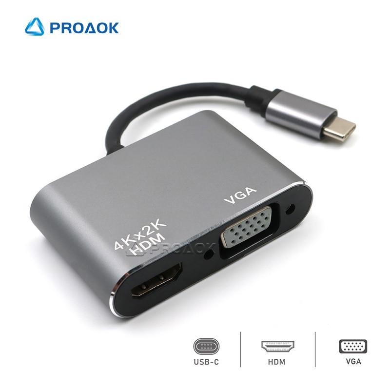 Adaptador 4K USB Tipo C a HDMI, convertidor VGA para Samsung S8...