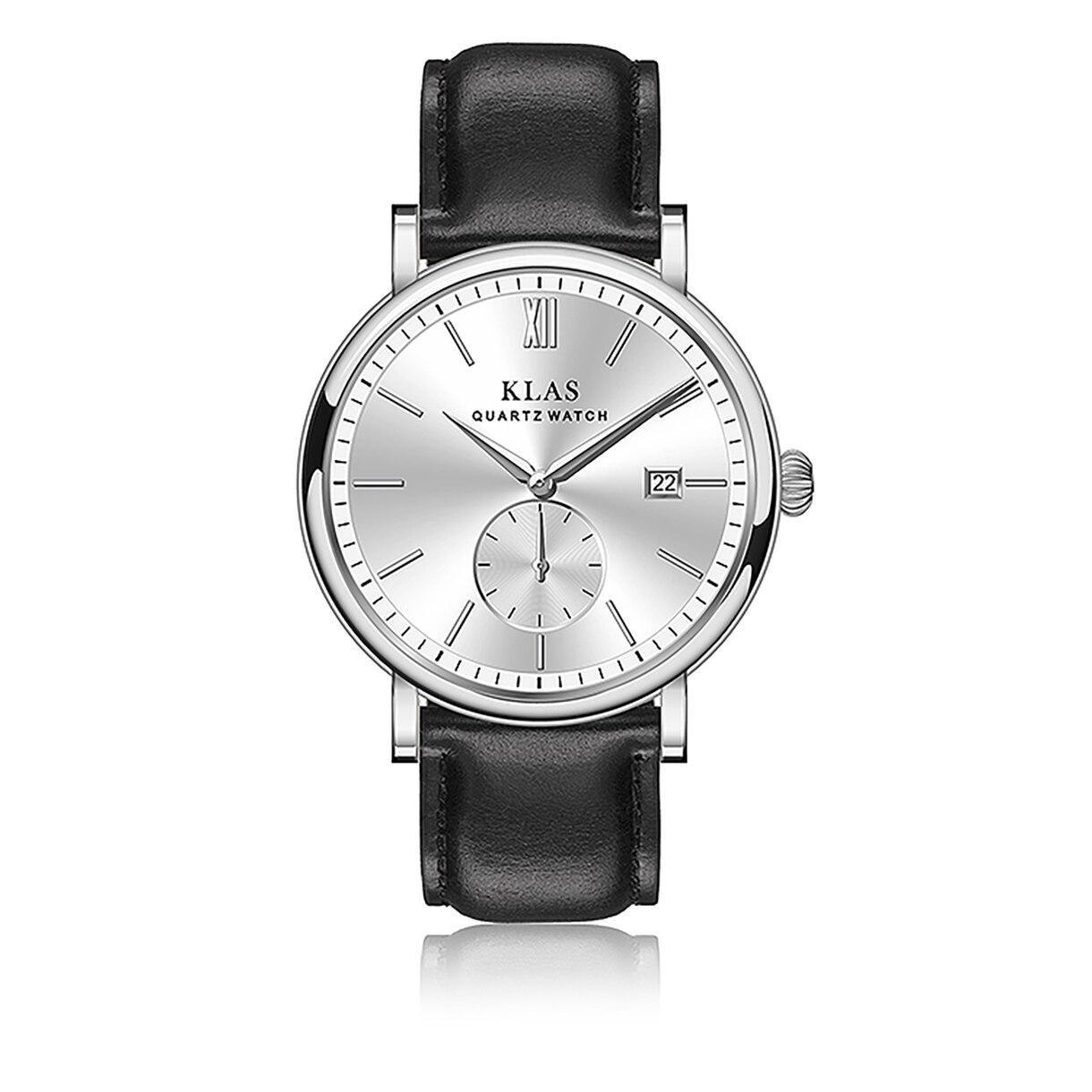 Relógio de Quartzo para Homem Klas Casual Couro Cinto Negócio Analógico Vestido Relógio
