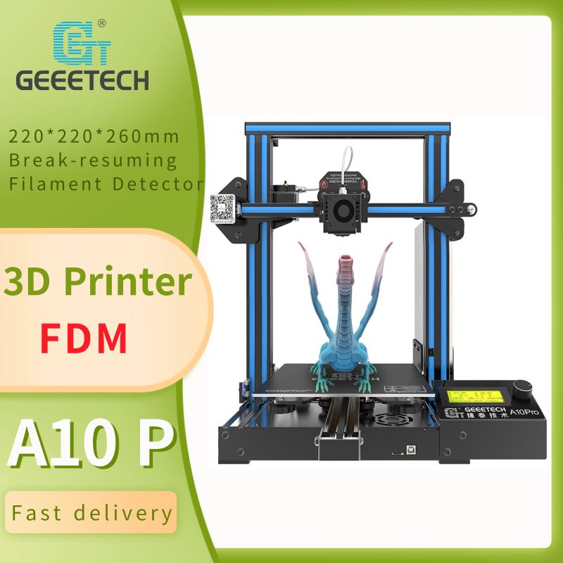 Geeetech A10 FDM طابعة ثلاثية الأبعاد مفتوحة المصدر لوحة تحكم ، كاشف خيوط ، سهلة التجميع ، استئناف الطباعة ، atuo التسوية ، لتقوم بها بنفسك عدة