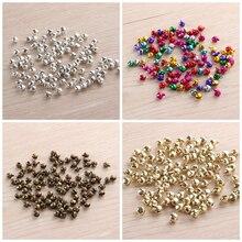 100PCS New Fashion Colorful Christmas Bells Pendants Charm Jingle Loose Iron Beads DIY Craft Xmas Decor Tiny Bell Embellishment