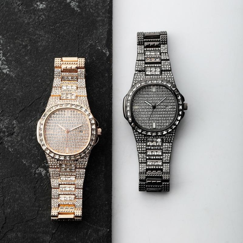 Relógio de pulso de quartzo da data de luxo dos homens do hip hop relógios de pulso de quartzo que bling iced para fora cz