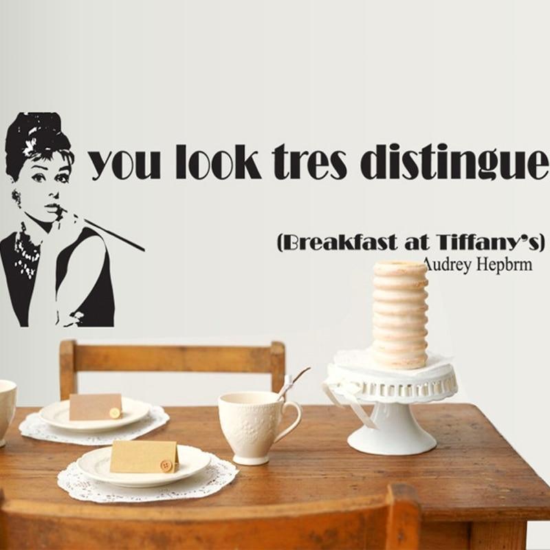 Moda negro Audrey Hepburn pared calcomanía pegatinas decoración del hogar maquillaje pósteres de vinilo extraíble sala de estar Mural Decoración de cocina