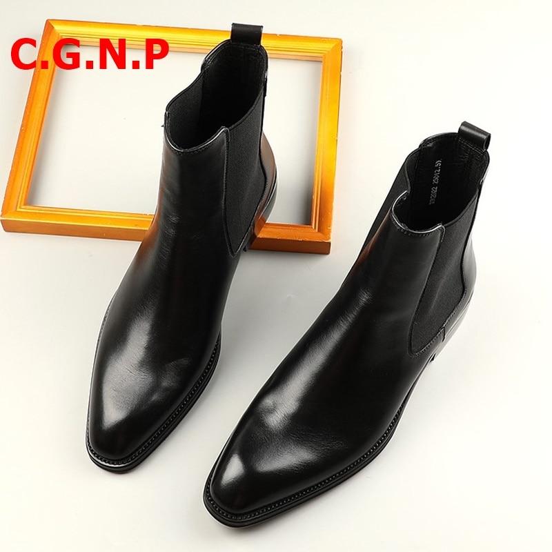 Купить с кэшбэком C.G.N.P Chelsea Boots Men Autumn Genuine Leather Breathable Boots Mens Handmade Dress Shoes Fashion Men Motorcycle Boots