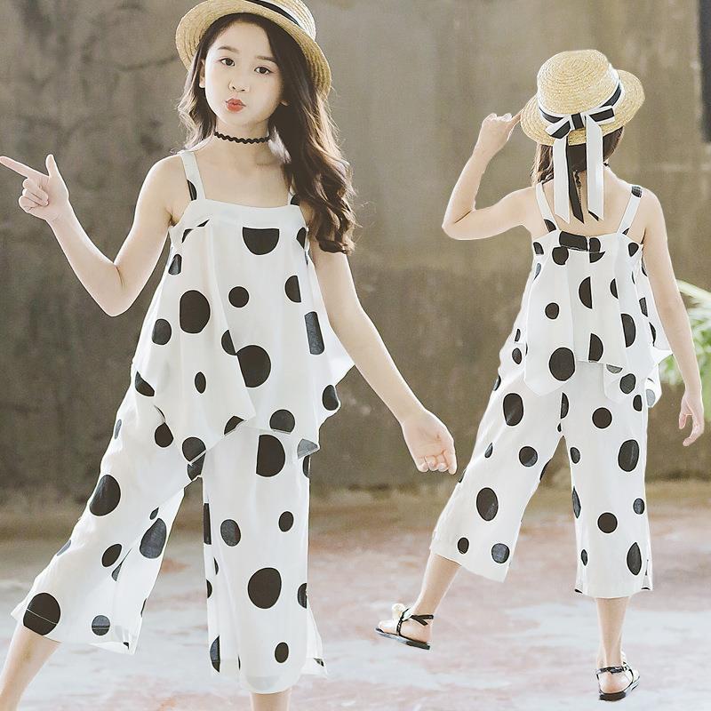 ¡Novedad de 2020! Traje de verano con tirantes para niñas, ropa occidental de dos piezas de 8 piezas, ropa de moda para chicas, atuendos con volantes, ropa de 10 a 12 años