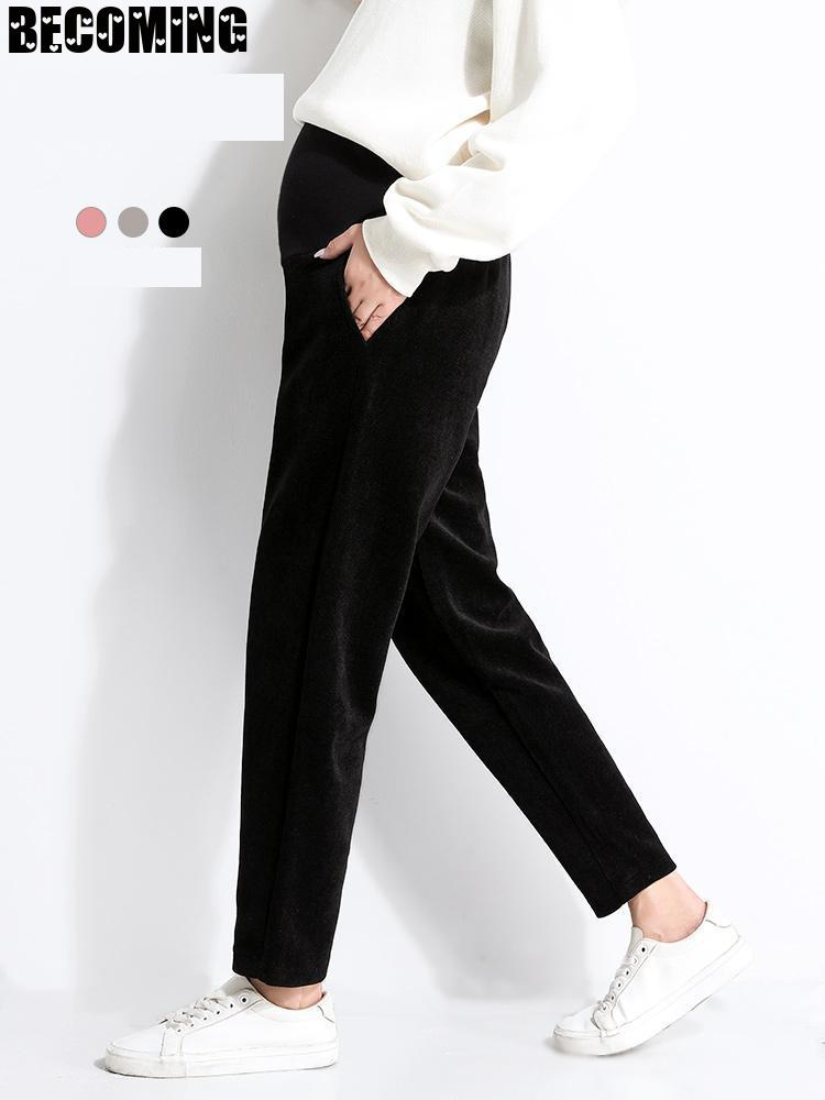 Pregnant Women's Pants Autumn Wear Fashion Large Loose Casual Nine Point Short Fashion Mom Corduroy Harun Pants Spring And Autum enlarge
