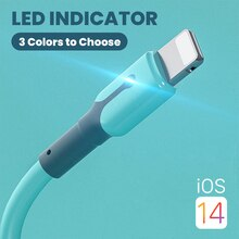 Soft Lighting USB Cable For iPhone 12 11 Pro Max X XR XS 8 7 6s iPad Fast Data Charging Charger USB