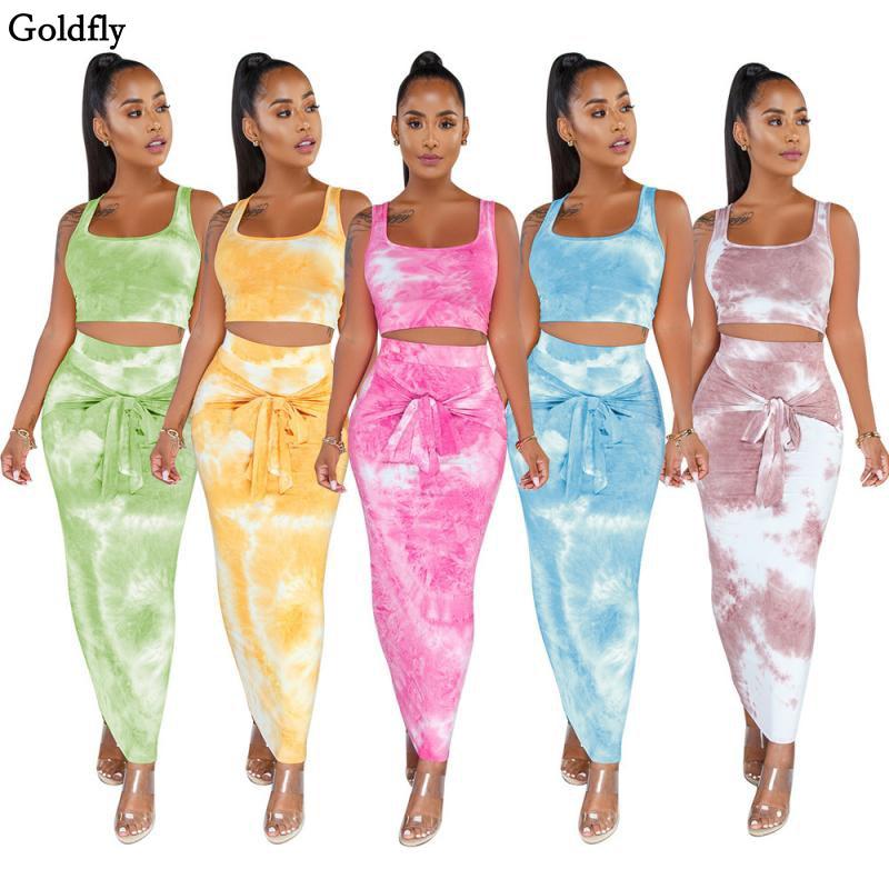 Пикантные Для женщин комплекты тай-дай комплект из двух предметов идут подтяжки, майка, топ и длинная юбка повязка с бантом, костюм из 2 предм...