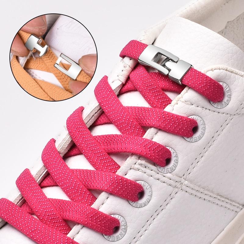 Elastic Cross buckle ShoeLaces New 1 Second Quick No Tie Shoe laces Kids  Uni Sneakers Shoelace Lazy Laces Strings