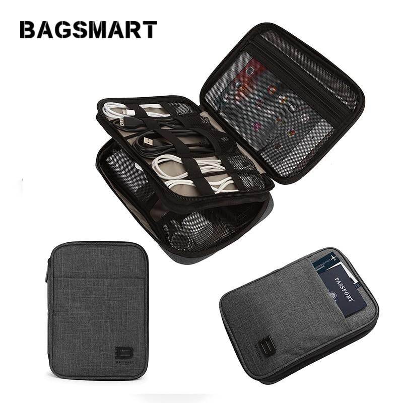 BAGSMART, organizador de Cables de viaje de doble capa, fundas de accesorios...