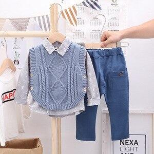 Spring and Autumn New Boys Long Sleeve Lapel Shirt + Sweater Vest Vest + Pants Pure Cotton Leisure Sports Three-piece Suit