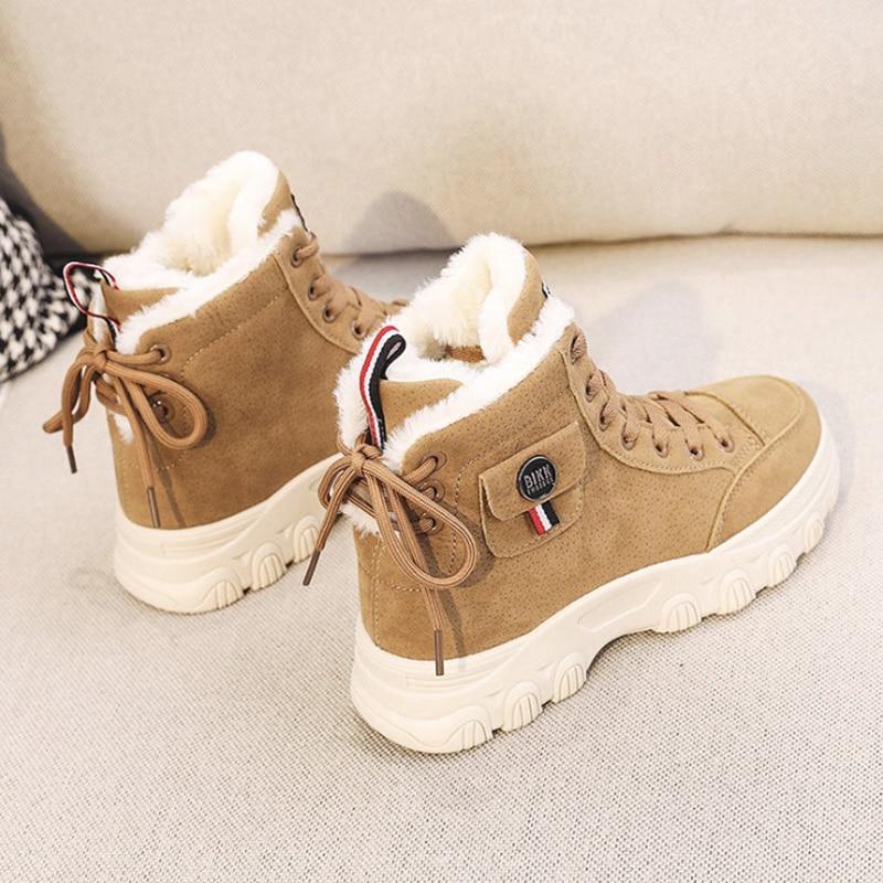 أحذية رياضية نسائية ، أحذية نسائية عصرية ، أحذية مسطحة ، منصة غير رسمية ، مريحة ، عالية ، دافئة ، قطيفة ، بيضاء ، لفصل الشتاء