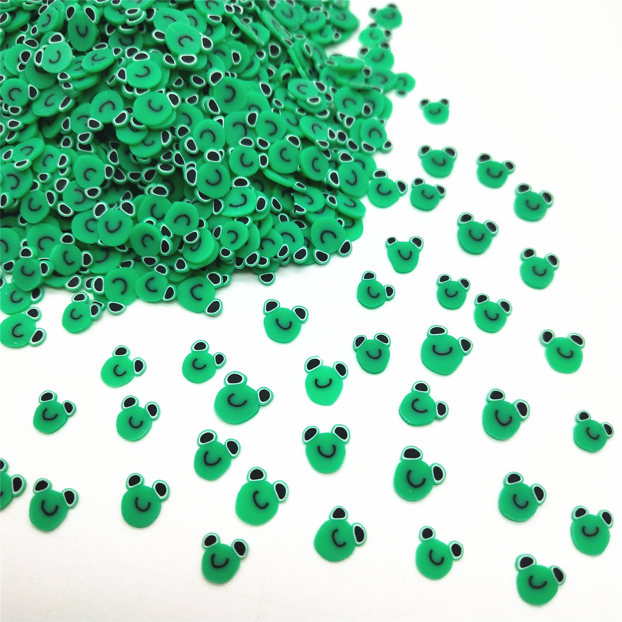 20g/lot Green Frog Polymer Clay Slices for DIY Crafts 5mm Plastic Klei Mud Particles Animal Clays