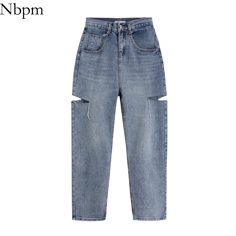 Nbpm Women 2021 Chic Fashion With Casual Ripped Hole Jeans Vintage High Waist Vaqueros Mujer Baggy S