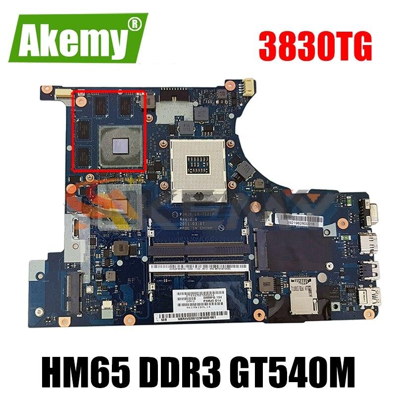 AKEMY اللوحة الرئيسية لشركة أيسر أسباير 3830 3830TG اللوحة الأم للكمبيوتر المحمول MBRFQ02002 MB. Rfq04.002 P3MJ0 LA-7121P HM65 DDR3 GT540M اختبار