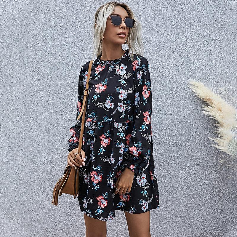 aliexpress - 2021 New Autumn Winter Fashion Floral Dress Women Casual Full Sleeve High Waist Loose Print Dress