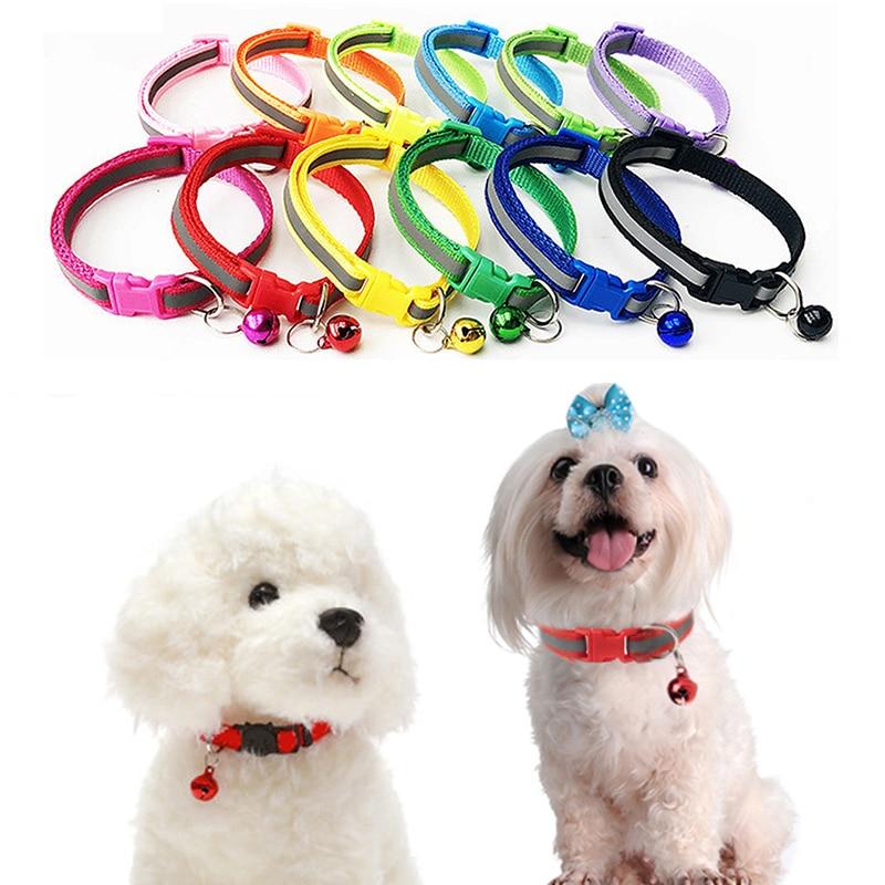 Collar reflectante con hebilla de 12 colores, collar de campana ajustable para mascotas, adecuado para gatos y pequeños suministros para mascotas perros