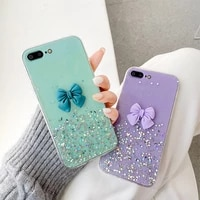 fashion luxury clear 3d bow girl soft case for iphone 11 12 pro max mini 7 8 plus xr x xs max se 2 female phone cover fundas